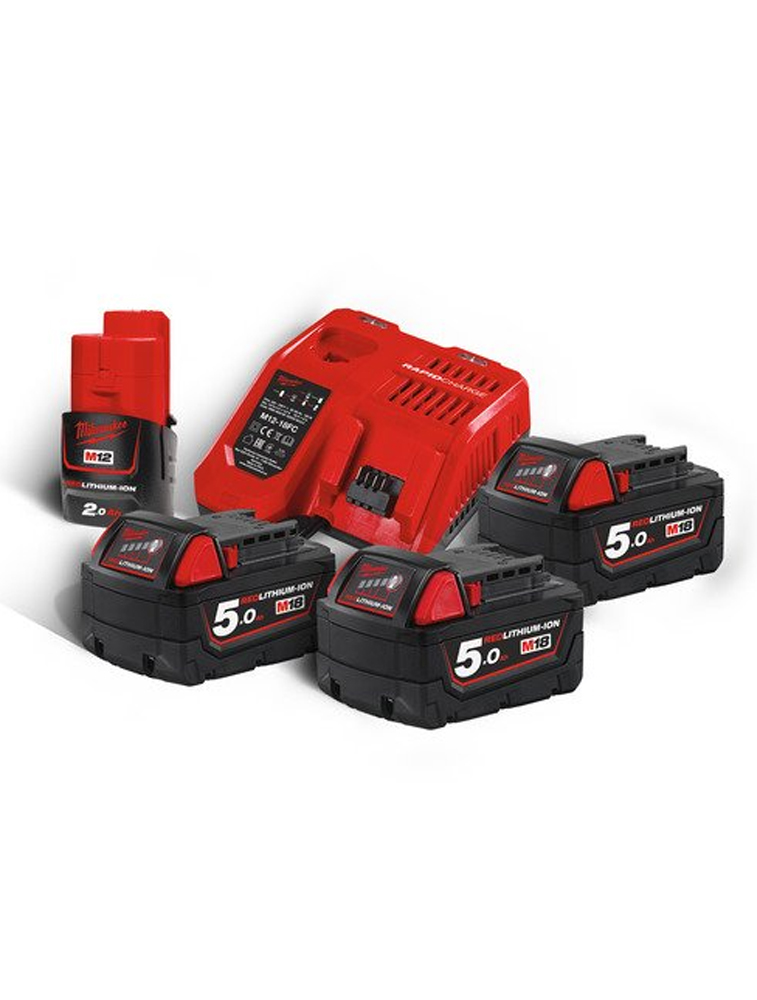 PACK 3 BATTERIES 5 Ah RED LI-ION + CHARGEUR RAPIDE